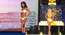 ATLANTIC CITY, NJ - SEPTEMBER 10: Miss Georgia 2017 Alyssa Beasley participates in Swimsuit challenge during the 2018 Miss America Competition Show at Boardwalk Hall Arena on September 10, 2017 in Atlantic City, New Jersey.  (Photo by Donald Kravitz/Getty Images for Dick Clark Productions)