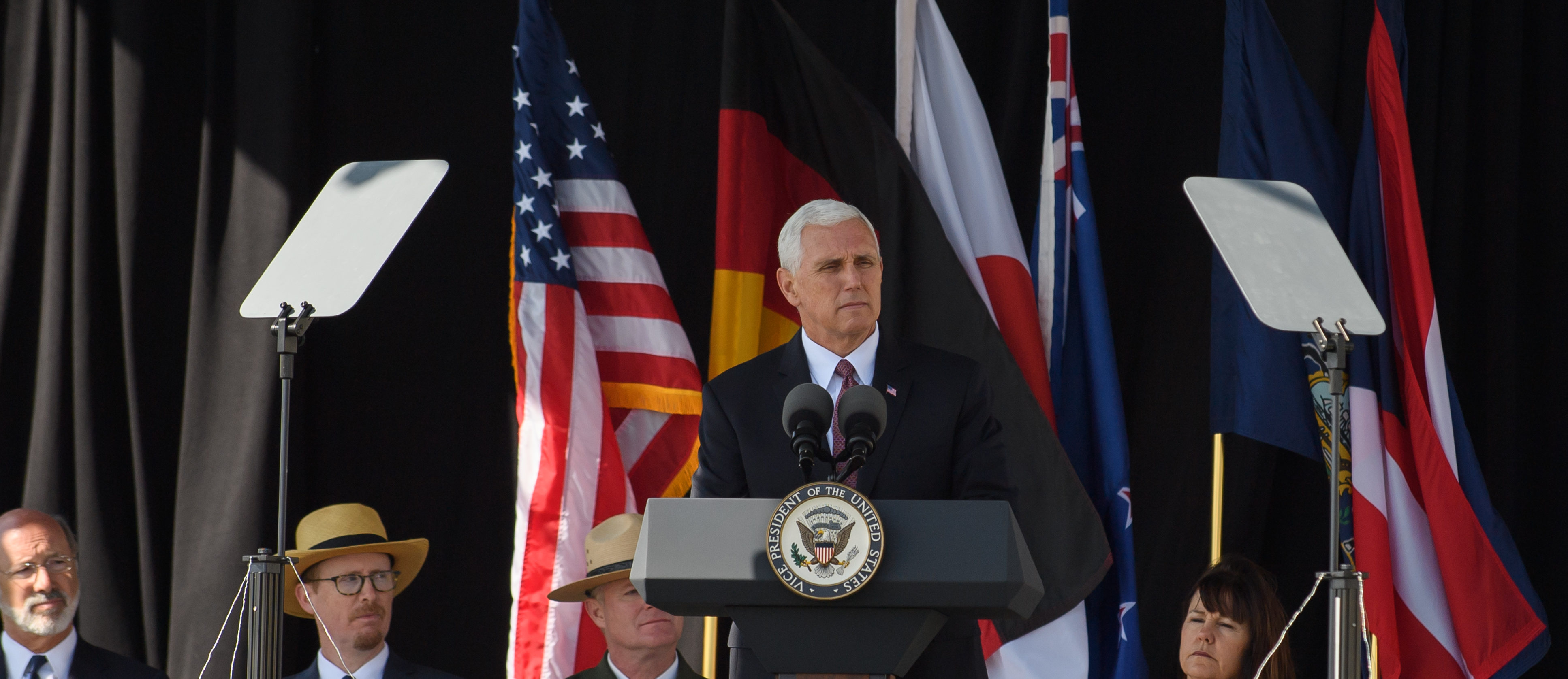 SHANKSVILLE, PA - SEPTEMBER 11: Vice President Mike Pence speaks to visitors at the Flight 93 National Memorial on the 16th Anniversary ceremony of the September 11th terrorist attacks, September 11, 2017 in Shanksville, Pennsylvania. United Airlines Flight 93 crashed into a field outside Shanksville, PA with 40 passengers and 4 hijackers aboard on September 11, 2001. (Photo by Jeff Swensen/Getty Images)