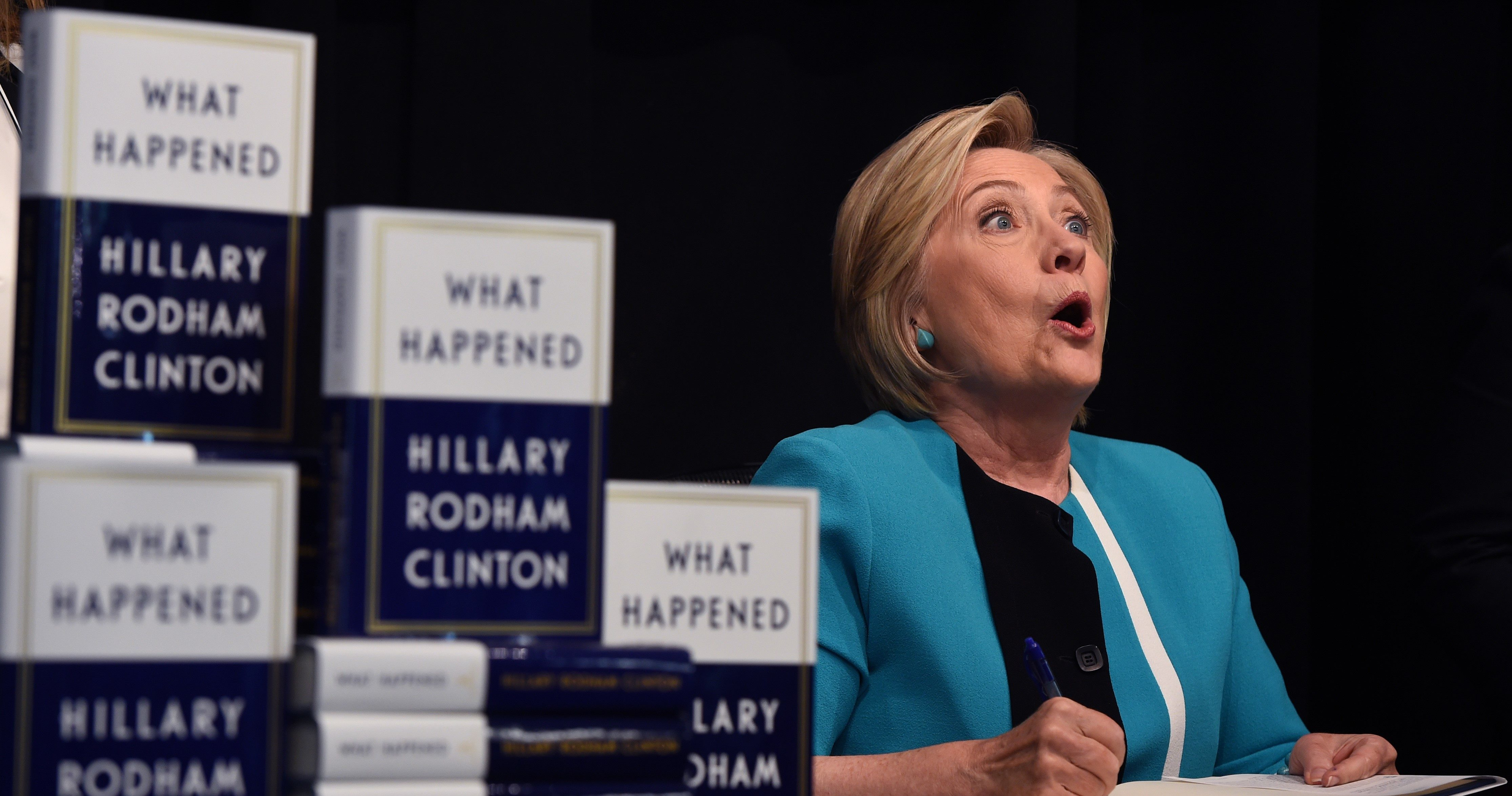 "Hillary Clinton kicks off her book tour of her memoire of the 2016 presidential campaign titled ""What Happened"" with a signing at the Barnes & Noble in Union Square on September 12, 2017 in New York."