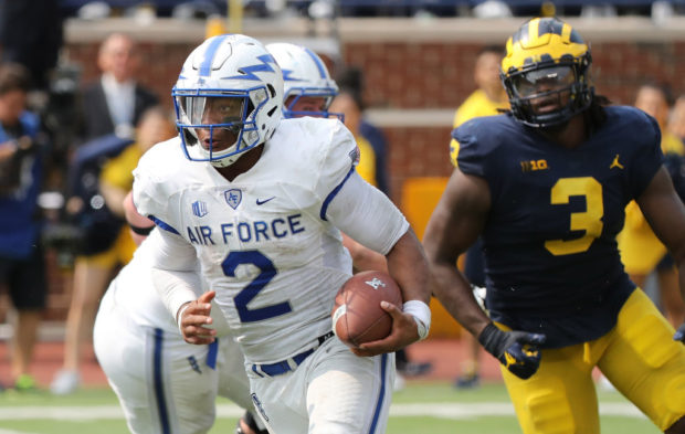 ANN ARBOR, MI - SEPTEMBER 16: Arion Worthman #2 of the Air Force Falcons drops back to pass during the second quarter of the game against the Michigan Wolverines at Michigan Stadium on September 16, 2017 in Ann Arbor, Michigan. Michigan defeated Air Force Falcons 29-13. (Photo by Leon Halip/Getty Images)