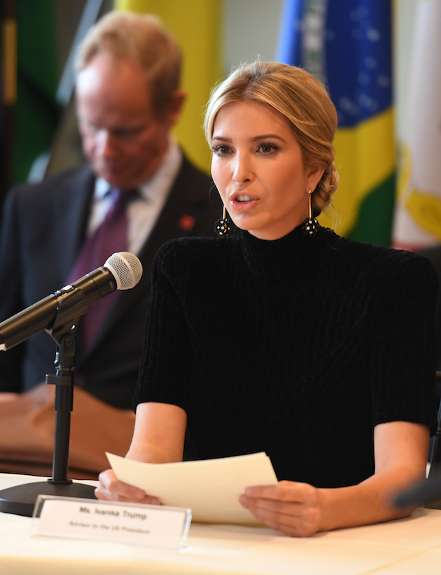 "Ivanka Trump addresses the event ""A Call to Action to End Forced Labour, Modern Slavery and Human Trafficking"" on September 19, 2017 at the United Nations in New York. / AFP PHOTO / DON EMMERT (Photo credit should read DON EMMERT/AFP/Getty Images)"