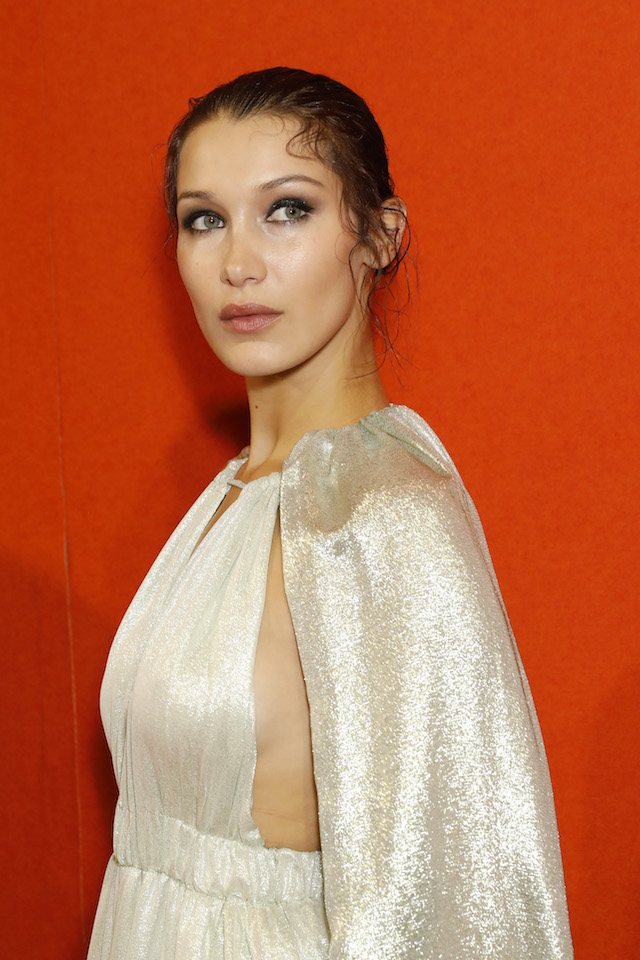 MILAN, ITALY - SEPTEMBER 20: Bella Hadid is seen backstage ahead of the Alberta Ferretti show during Milan Fashion Week Spring/Summer 2018on September 20, 2017 in Milan, Italy. (Photo by Tristan Fewings/Getty Images)