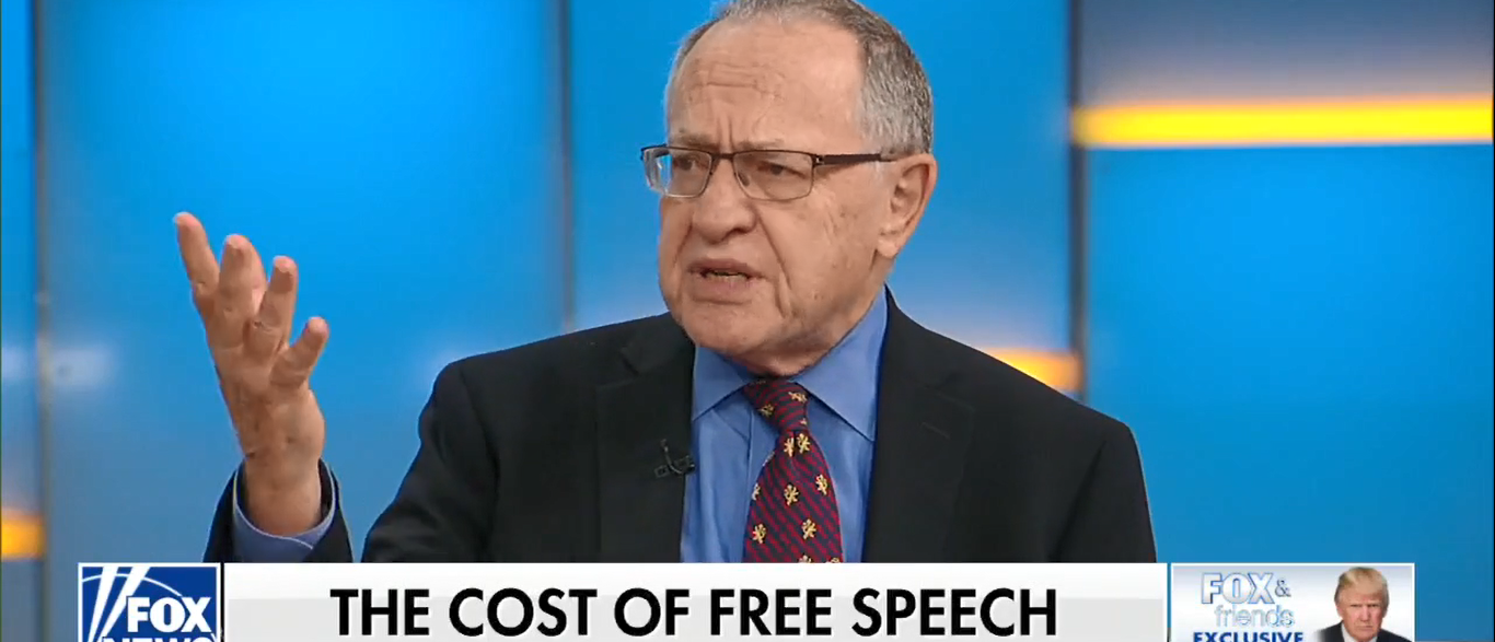 Harvard Professor Alan Dershowitz Threatens To Sue Berkeley Over First Amendment 09-28-17 (Screenshot-Fox News)