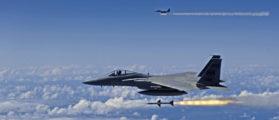 A U.S. Air Force F-15 Eagle fires AIM-7 Sparrow missiles at a tactical air-launched decoy during exercise Rim of the Pacific 2006 off the coast of Hawaii in this handout photo taken July 16, 2006 and released on July 22, 2006. The exercise brings together military forces from Australia, Canada, Chile, Peru, Japan, South Korea, the United Kingdom and the United States in the world's largest biennial maritime exercise. The F-15s are from the 199th Fighter Squadron, Hawaii Air National Guard. REUTERS/Shane A. Cuomo/U.S. Air Force/Handout