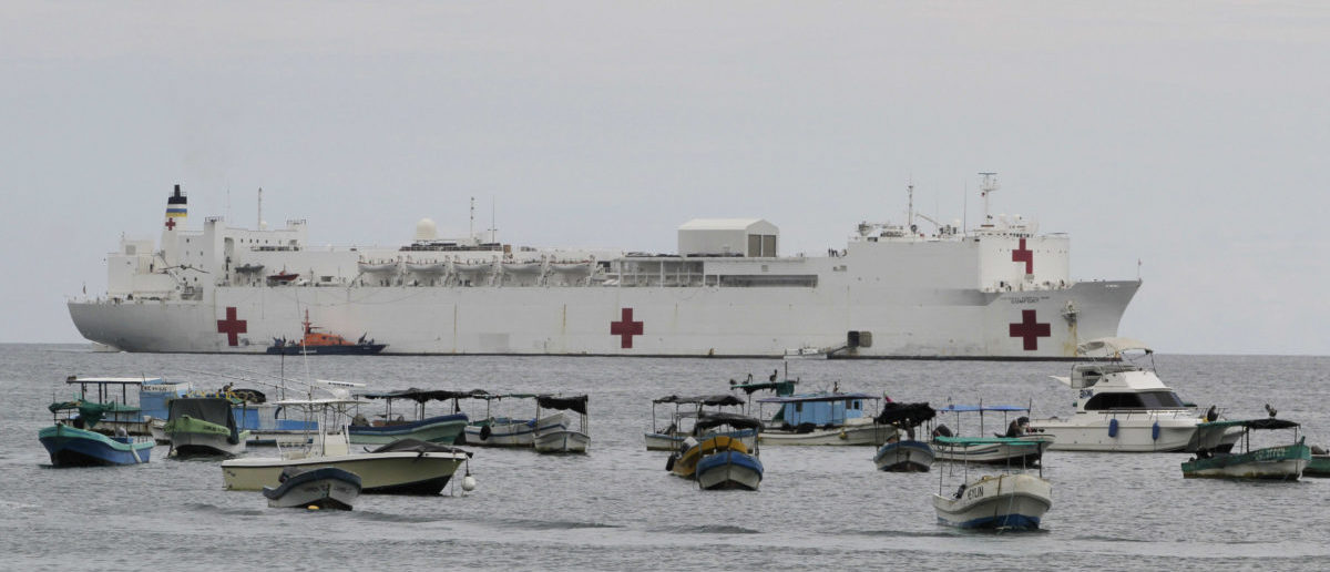 The Military Sealift Command hospital ship USNS Comfort is seen anchored at San Juan Port, some 140 km (87 miles) south of the capital Managua June 20, 2011. The ship will remain in Nicaragua for 10 days and will provide humanitarian assistance to communities near to port. REUTERS/Oswaldo Rivas