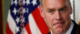 Ryan Zinke pauses after he was sworn in to be Secretary of the Interior in Washington, U.S., March 1, 2017. (REUTERS/Joshua Roberts)