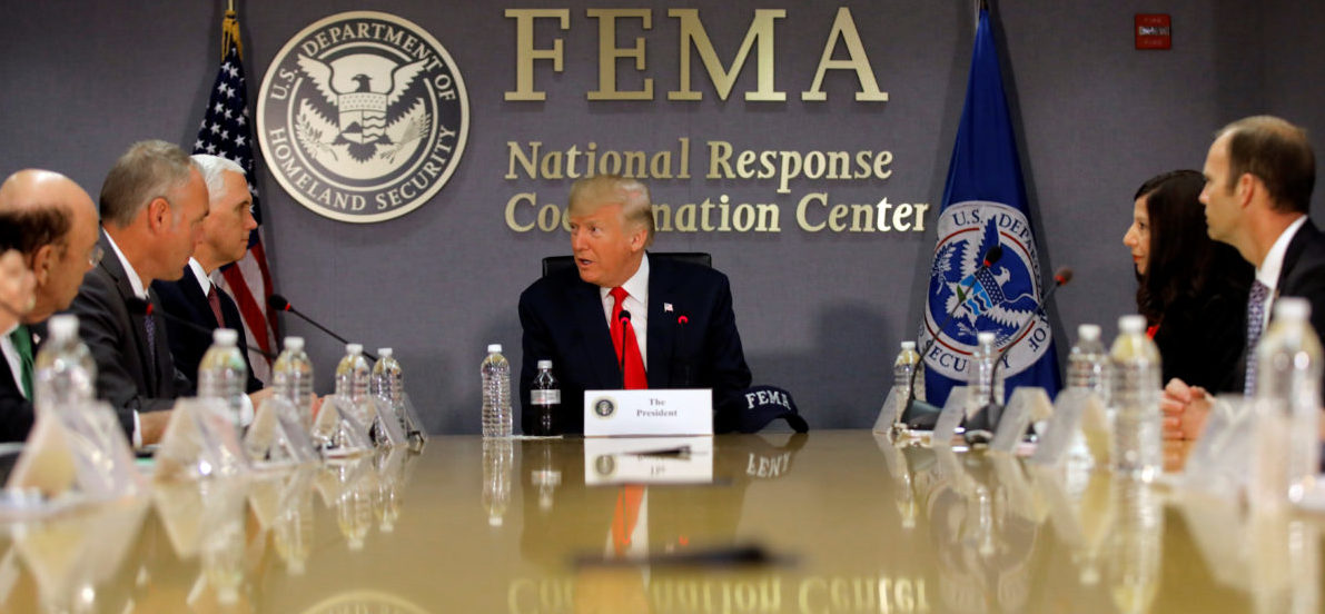 U.S. President Donald Trump attends a Federal Emergency Management Agency (FEMA) briefing on hurricane season at FEMA Headquarters in Washington, U.S., August 4, 2017. REUTERS/Carlos Barria - RC1182D7F400