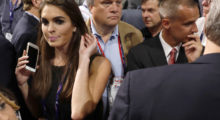 Republican U.S. Presidential candidate Donald Trump's communications director Hope Hicks (L) crosses paths with Trump's former campaign manager Corey Lewandowski (R) at the Republican National Convention in Cleveland, Ohio, U.S. July 18, 2016. Photo taken July 18, 2016.