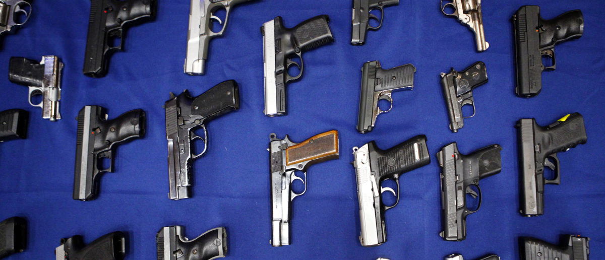 Seized handguns are pictured at the police headquarters in New York, New York August 19, 2013. REUTERS/Eric Thayer/