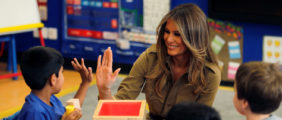 Melania Rocks Lavender Coat And Jeans During Visit To Michigan School [VIDEO]
