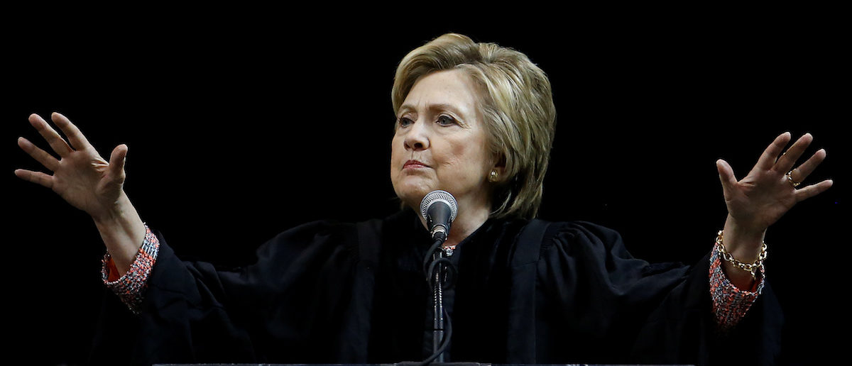 Former Secretary of State Hillary Clinton speaks on stage during a commencement for Medgar Evers College in the Brooklyn borough of New York City, New York, U.S. June 8, 2017. REUTERS/Carlo Allegri - RC1B63B03850