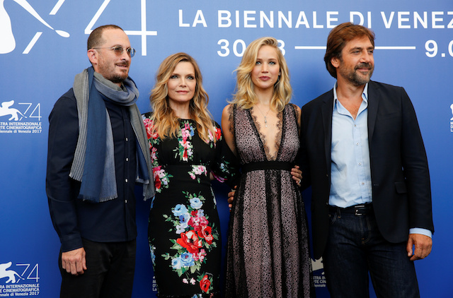 """Director Darren Aronofsky (L) poses with actors Javier Bardem (R), Jennifer Lawrence (2nd R) and Michelle Pfeiffer during a photocall for the movie """"Mother!"""" at the 74th Venice Film Festival in Venice, Italy September 5, 2017. REUTERS/Alessandro Bianchi - RC12775414E0"""