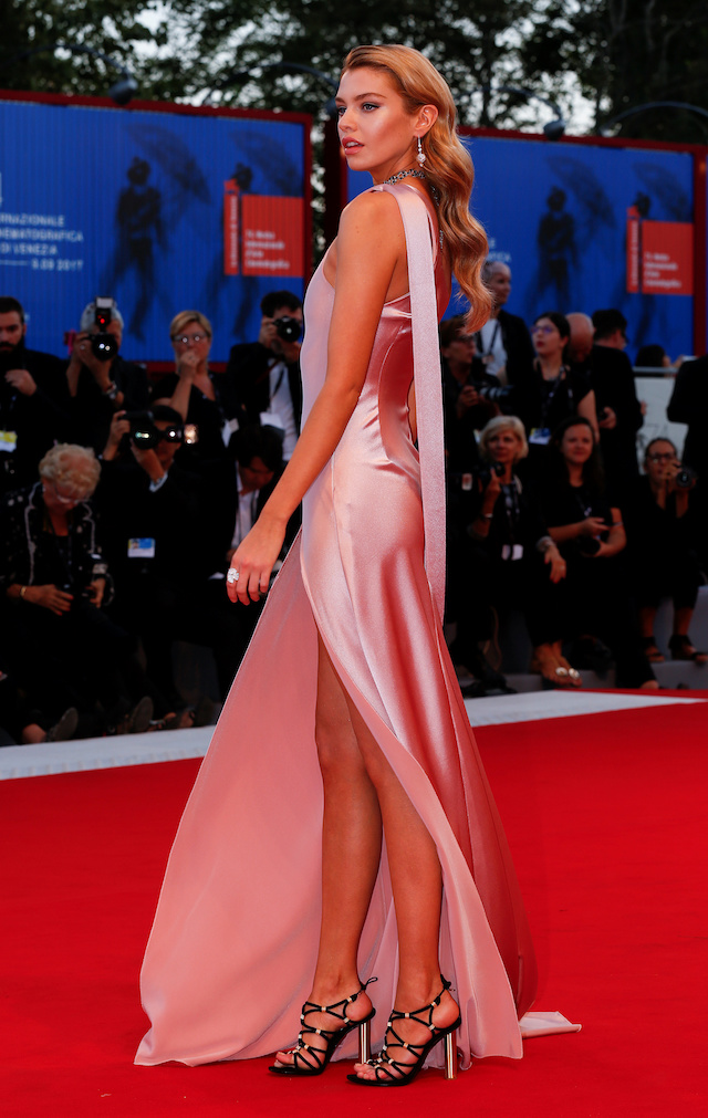 """Stella Maxwell poses as she arrives during a red carpet event for the movie """"Mother!"""" at the 74th Venice Film Festival in Venice, Italy, Italy September 5, 2017. REUTERS/Alessandro Bianchi - RC17A9B29900"""