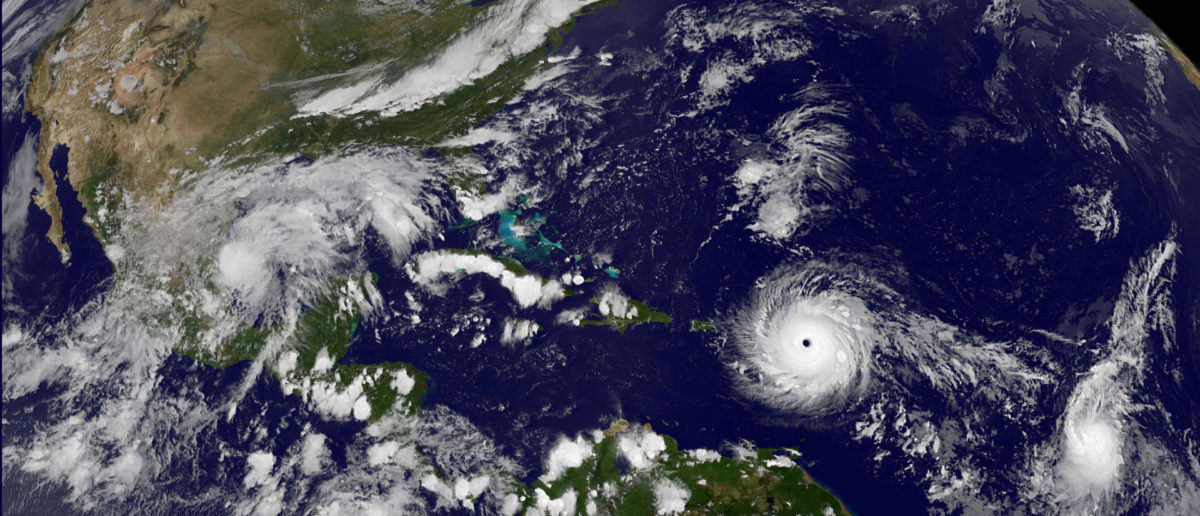 Hurricane Irma, a record Category 5 storm, churns across the Atlantic Ocean on a collision course with Puerto Rico and the Virgin Islands, is shown in this NASA GOES satellite image taken at 1715 EDT (2215 GMT) on September 5, 2017. Courtesy NASA/Handout via REUTERS ATTENTION EDITORS - THIS IMAGE WAS PROVIDED BY A THIRD PARTY TPX IMAGES OF THE DAY - RC1B87668950