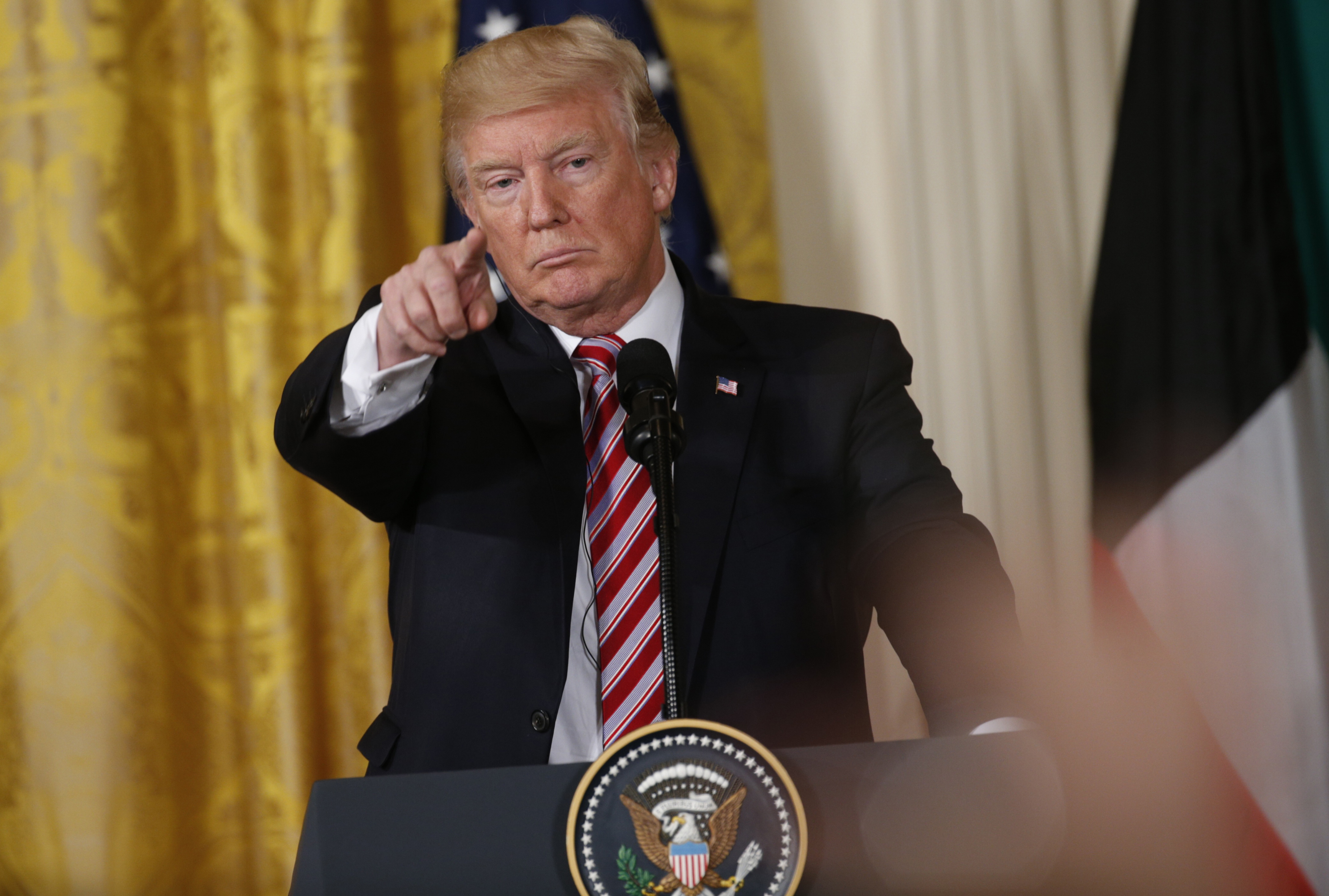U.S. President Donald Trump takes a question while holding a joint news conference with Emir of Kuwait Sabah Al-Ahmad Al-Jaber Al-Sabah in the East Room of the White House in Washington (Reuters Pictures)