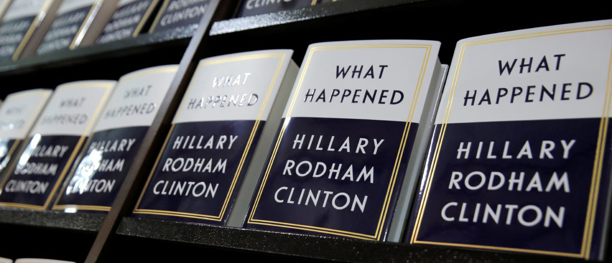 "Former Secretary of State Hillary Clinton's new book ""What Happened"" sits on shelves at Barnes & Noble bookstore at Union Square in Manhattan, New York City, U.S., September 12, 2017. REUTERS/Andrew Kelly"