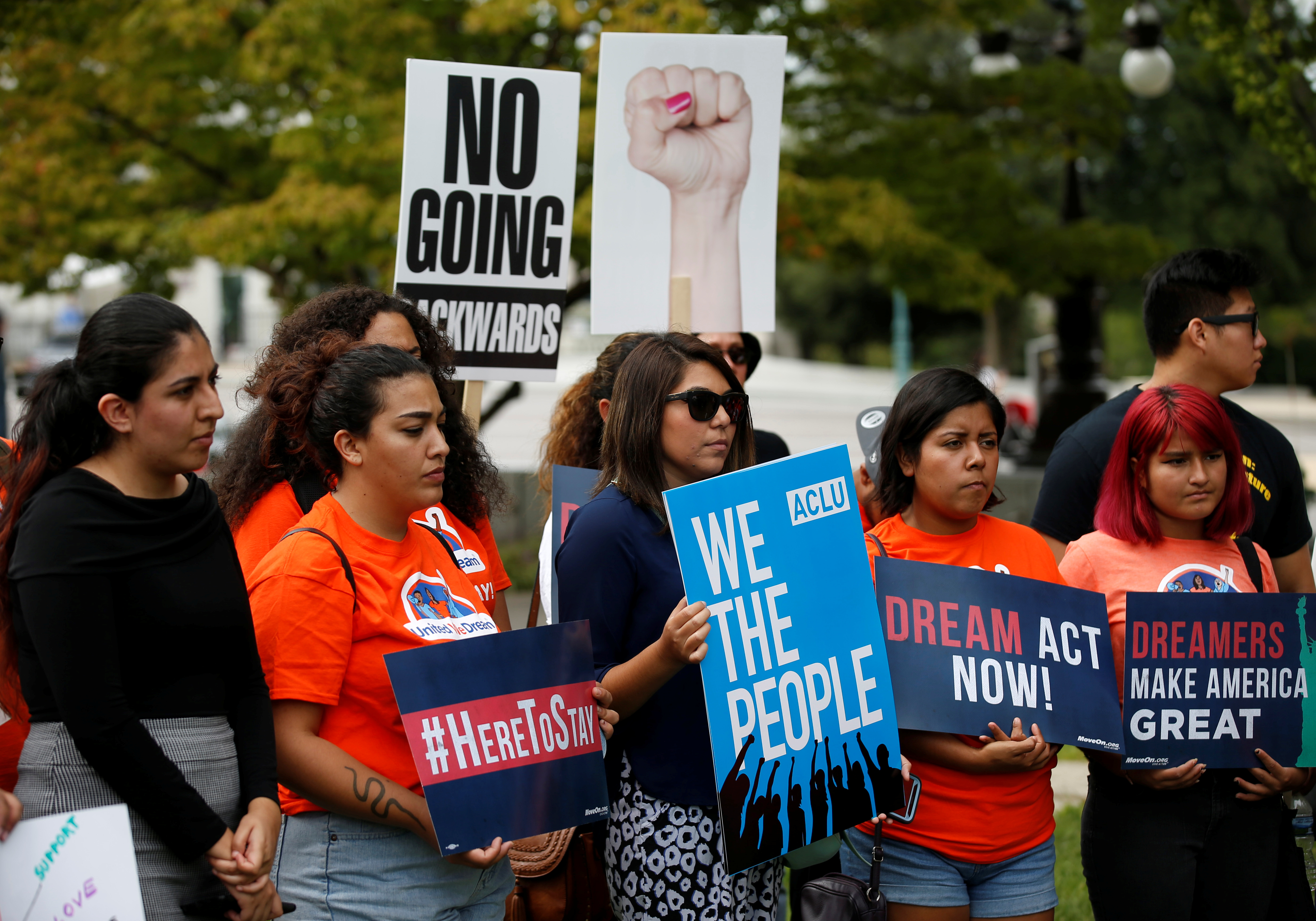 Immigration activists and DACA recipients take part in a rally about the importance of passing a clean DREAM Act before delivering a million signatures to Congress on Capitol Hill in Washington, U.S., September 12, 2017.   REUTERS/Joshua Roberts