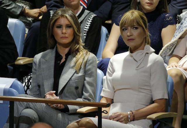 U.S. first lady Melania Trump (L) watches as her husband, U.S. President Donald Trump, addresses the 72nd United Nations General Assembly at U.N. headquarters in New York, U.S., September 19, 2017. REUTERS/Eduardo Munoz - HP1ED9J166KRO