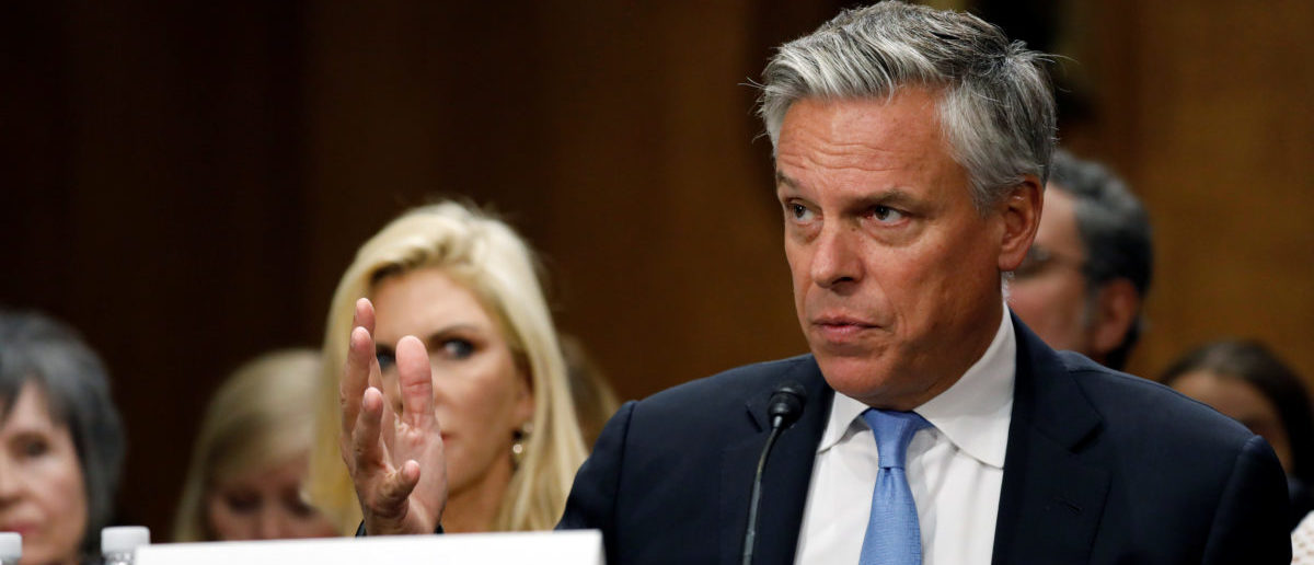 Former Gov. Jon Huntsman (R-UT) testifies before a Senate Foreign Relations Committee hearing on his nomination to be ambassador to Russia on Capitol Hill in Washington, U.S., September 19, 2017. REUTERS/Aaron P. Bernstein - RC13CD9FA1C0