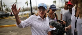 Mayor of San Juan Carmen Yulin Cruz talks with journalists outside the government center at the Roberto Clemente Coliseum days after Hurricane Maria, in San Juan, Puerto Rico September 30, 2017  REUTERS/Carlos Barria