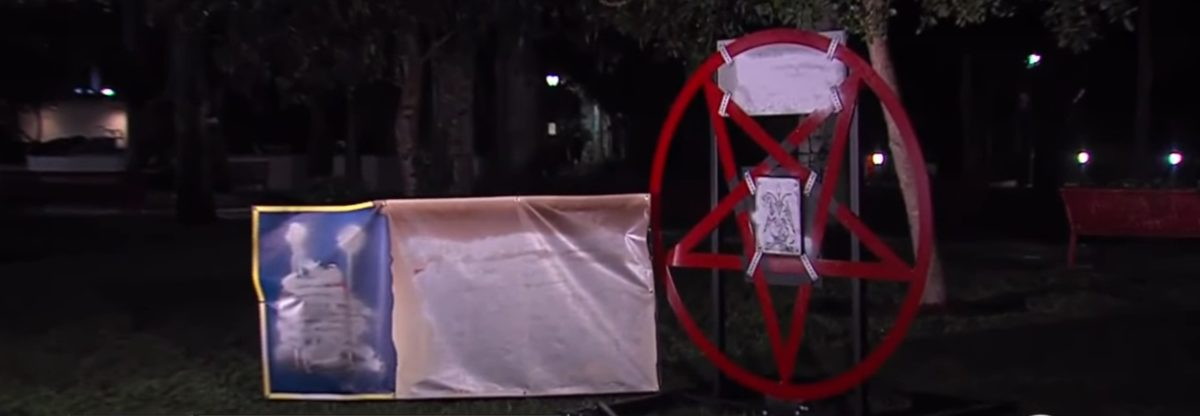 A Satanic Display In Boca Raton (youtube screenshot/WPTV News West Palm Beach Florida)