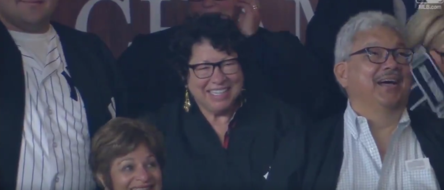 Justice Sonia Sotomayor at Yankee Stadium in August 2017. (Twitter screenshot/MLB)