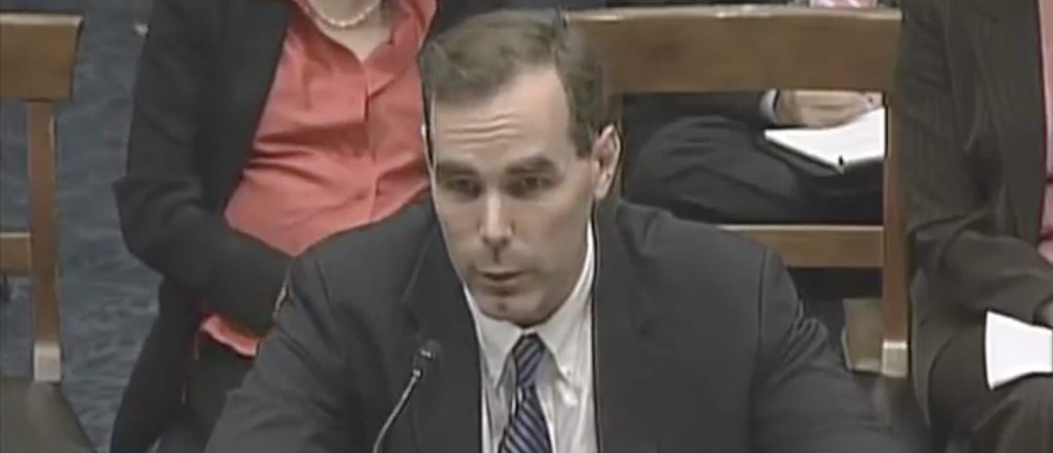 Eric Dreiband, President Trump's nominee to lead DOJ's civil rights division, in September 2007. (YouTube screenshot/House Resource Org)