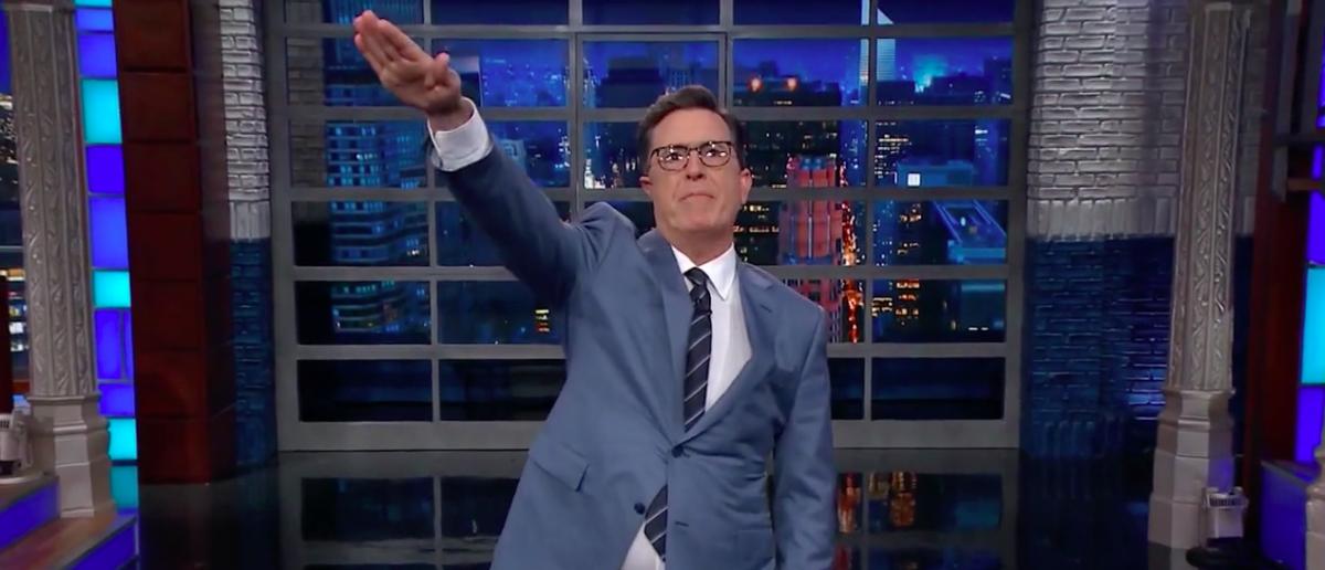 Screen Shot Stephen Colbert Nazi Salute (CBS: Sep 8, 2017)