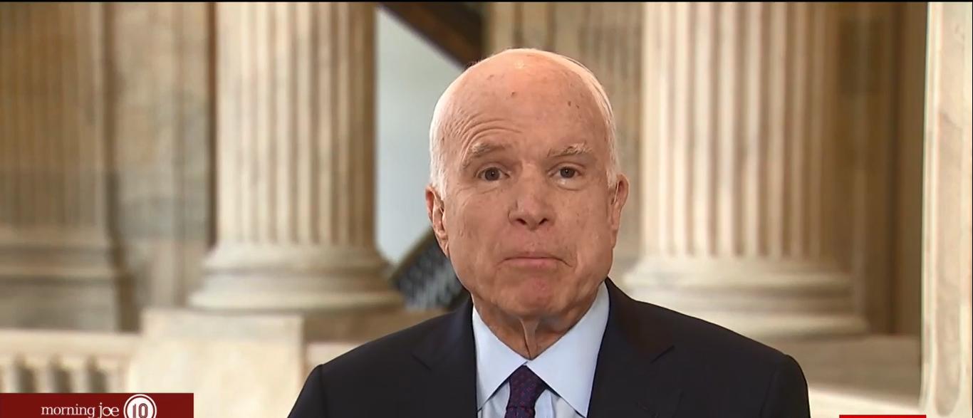 Here is a photo of Senator John McCain. (Photo: Screenshot/MSNBC)