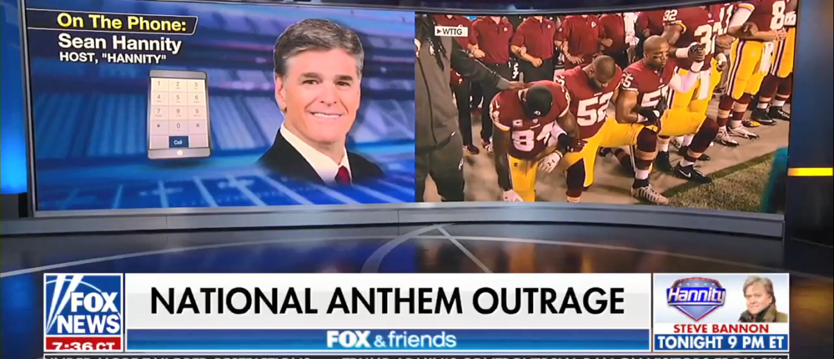 Fox News' Sean Hannity says fans will stop watching NFL if the teams continues to bring politics the games. (Screenshot/Fox News)