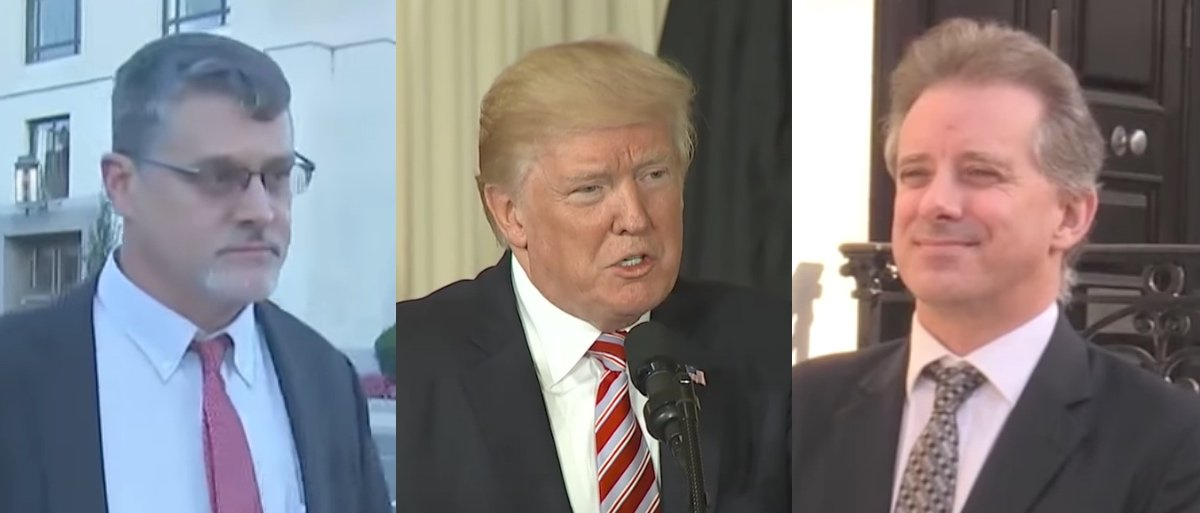 Fusion GPS co-founder Glenn Simpson (left); President Donald Trump (center); Ex-MI6 agent Christopher Steele (right).