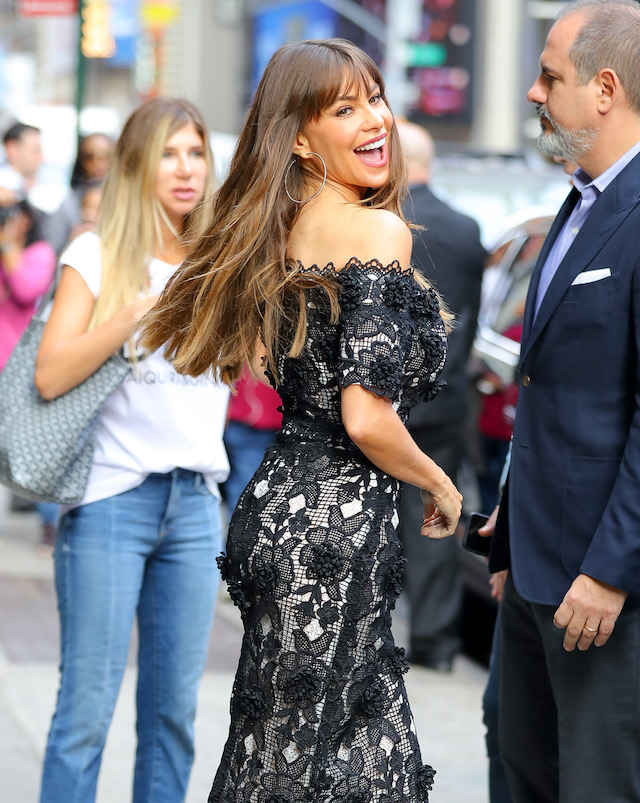 Sofia Vergara is all smiles as she leaves 'Good Morning America' in Times Square, New York City, New York, USA. <P> Pictured: Sofia Vergara <B>Ref: SPL1588952 270917 </B><BR /> Picture by: Felipe Ramales / Splash News