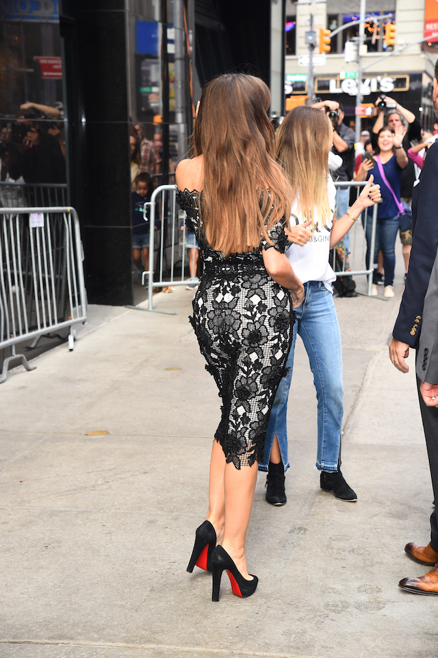 Sofia Vergara is spotted leaving 'Good Morning America' in a black and white dress in New York City, New York, USA. <P> Pictured: Sofia Vergara <B>Ref: SPL1589850 270917 </B><BR /> Picture by: H&H JDHIMAGEZ.COM / Splash News