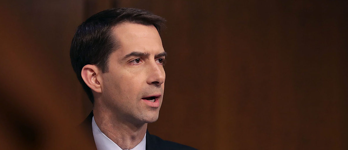 Sen. Tom Cotton (R-AR) questions former FBI Director James Comey during a hearing of the Senate Intelligence Committee in the Hart Senate Office Building on Capitol Hill June 8, 2017 in Washington, DC. Comey said that President Donald Trump pressured him to drop the FBI's investigation into former National Security Advisor Michael Flynn and demanded Comey's loyalty during the one-on-one meetings he had with president. (Photo by Chip Somodevilla/Getty Images)