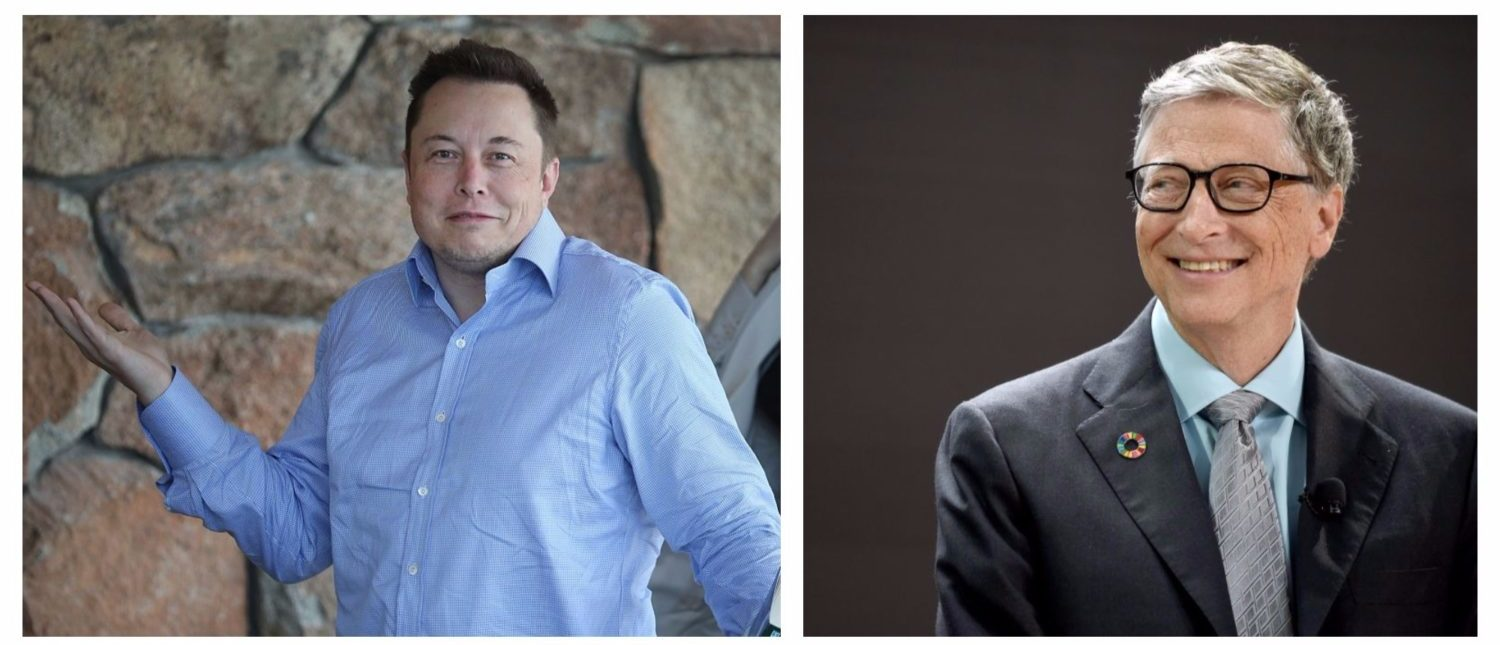 Left: SUN VALLEY, ID - JULY 07: Elon Musk, CEO and CTO of SpaceX, CEO and product architect of Tesla Motors, and chairman of SolarCity, attends the Allen & Company Sun Valley Conference on July 8, 2015 in Sun Valley, Idaho. (Photo by Scott Olson/Getty Images) Right: NEW YORK, NY - SEPTEMBER 20: Bill & Melinda Gates Foundation co-founder Bill Gates speaks at Goalkeepers 2017, at Jazz at Lincoln Center on September 20, 2017 in New York City. (Photo by Jamie McCarthy/Getty Images for Bill & Melinda Gates Foundation)
