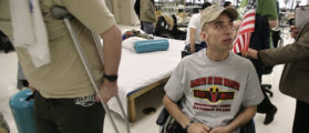 U.S. soldier Sergeant John Kriesel, who was wounded in Iraq, waits before a therapy session at the Physical Medicine and Rehabilitation center at the Walter Reed Army Medical Center in Washington in this February 9, 2007 file photo. REUTERS/Yuri Gripas/Files