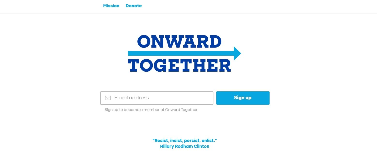 Onward Together webpage screenshot