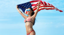 Is there anything better than a bikini, a girl and the American flag? (photo: Shutterstock)