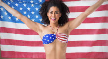 Celebrate Uncle Sam Day just like this girl in her gorgeous American flag bikini. (photo: Shutterstock)