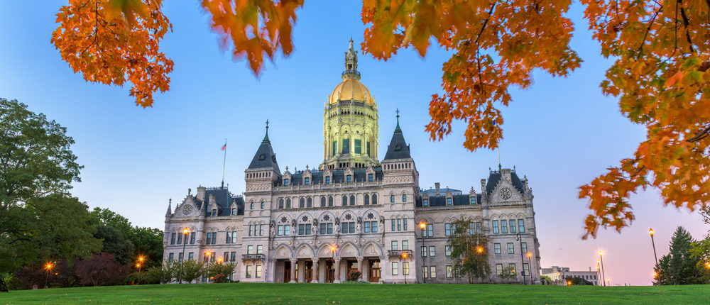 Connecticut State Capitol in Hartford, Connecticut, USA during autumn. (Sean Pavone, Shutterstock)