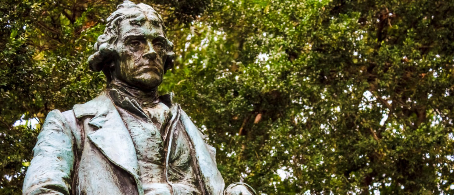 Thomas Jefferson statue at the University of Virginia (Shutterstock/Timothy Harding)