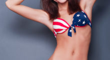 This girl in her stars and stripes bikini is clearly having a good time. (photo: Shutterstock)