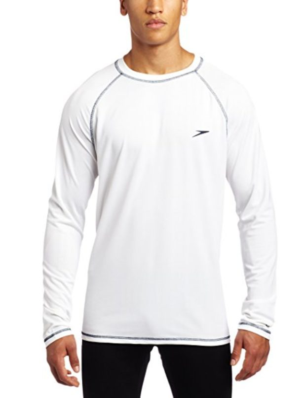 Normally $38, ths swim tee is 35 percent off today. It comes in white, black, ocean, cyan and navy (Photo via Amazon)
