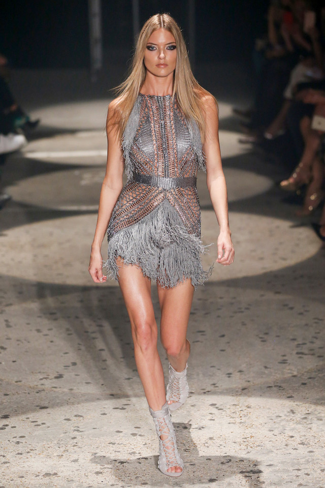 Alessandra Ambrosio, Hailey Baldwin and Winnie Harlow walk the catwalk for Julien Macdonald Spring 2018 Ready-to-Wear collection in London, UK. <P> Pictured: Martha Hunt <B>Ref: SPL1581850 190917 </B><BR /> Picture by: Newspictures / Splash News<