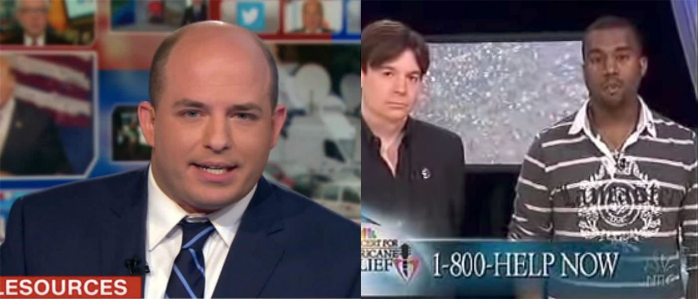 Brian Stelter and Kanye West (Youtube screen shot / CNN screen shot)