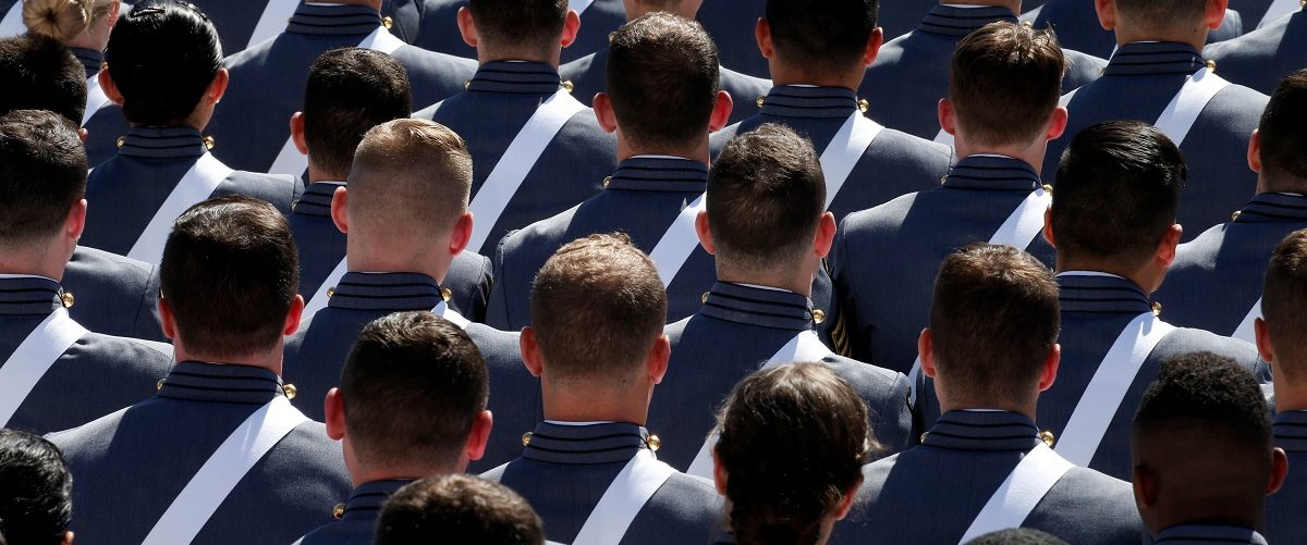 Graduating cadets sit together during commencement ceremonies at the United States Military Academy in West Point, New York, U.S., May 27, 2017. REUTERS/Mike Segar.