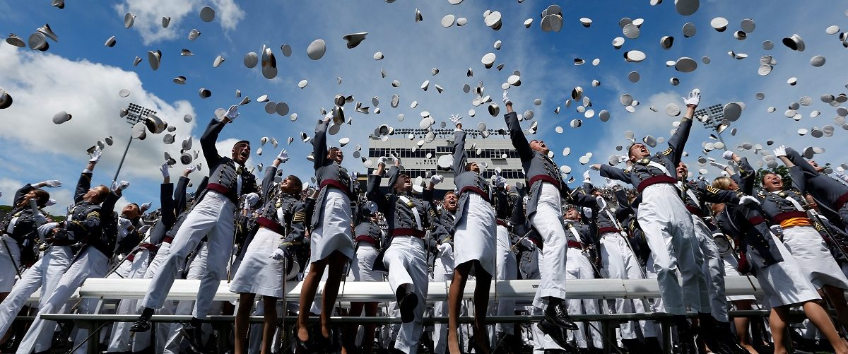 Graduates of the United States Military Academy toss their hats into the air at the conclusion of commencement ceremonies in West Point, New York, U.S., May 27, 2017. REUTERS/Mike Segar.