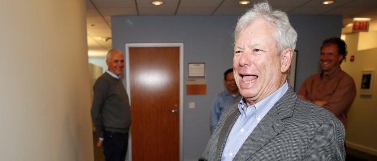 U.S. economist Richard Thaler, of the University of Chicago Booth School of Business, smiles upon arrival at his office after winning the 2017 Nobel Economics Prize in Chicago, Illinois, U.S. October 9, 2017. REUTERS/Kamil Krzaczynski