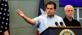Governor of Puerto Rico Ricardo Rossello speaks during a news conference days after Hurricane Maria hit Puerto Rico in San Juan