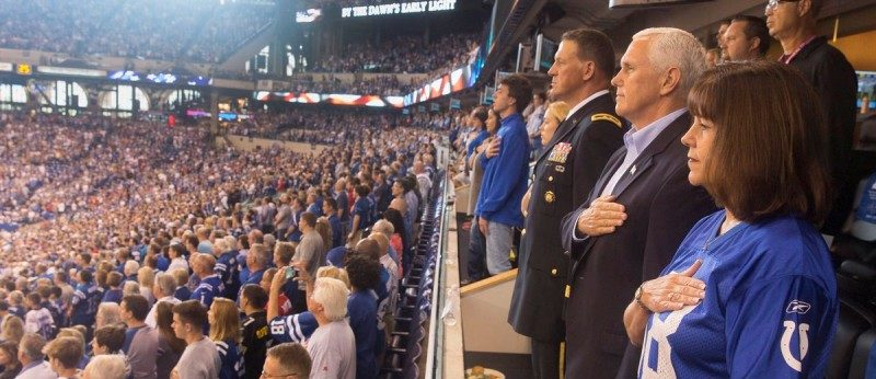 Vice President Mike Pence and Second Lady Karen Pence stand during the national anthem prior to the start of an NFL football game between the Indiana Colts and the San Francisco 49ers at the Lucas Oil Stadium in Indianapolis, Indiana, U.S., October 8, 2017.    White House/Myles Cullen/Handout via REUTERS